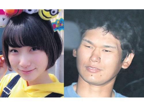 巖埼友宏(右)涉嫌殺傷田真由,昨天上午移送東京地檢署。翻攝每日新聞