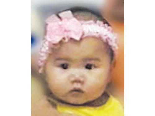 3歲女兒謝凱詩小時候的照片。