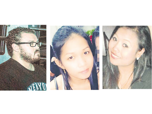 涉嫌殺害兩女的朱廷(左)。兩名死者蘇瑪蒂(左)和絲南。