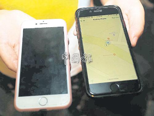 事主登錄友人的iPhone手機(右),透過內建APP掌握被扒走手機(左)的位置。