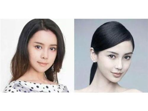吳玉青(左)以Angelababy(右)為範本動整形手術。翻攝微博