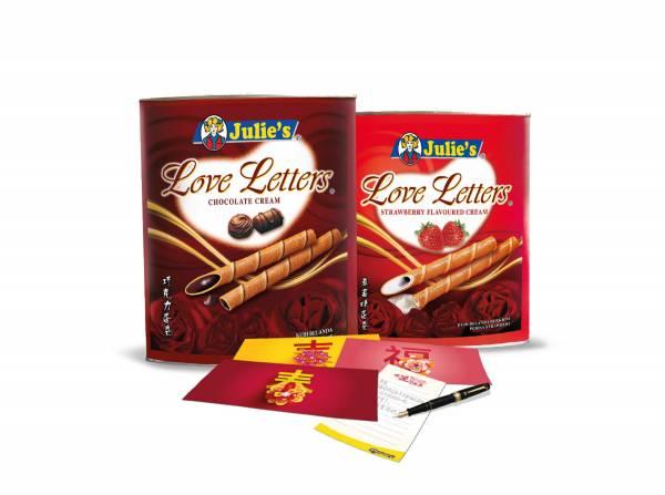 Julie's Love Letters蛋卷700克桶裝,附贈3款新穎精美設計紅包封。