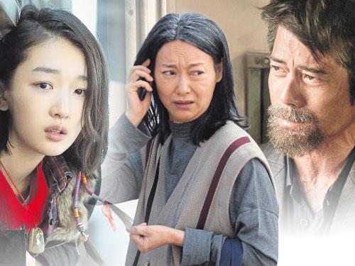 周冬雨(左起)惠英紅和郭富城,在首屆《馬來西亞國際電影節及金環獎頒獎典禮》角逐影帝后。