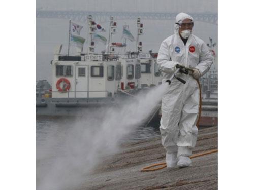 有檢疫人員加強消毒現場。(互聯網)