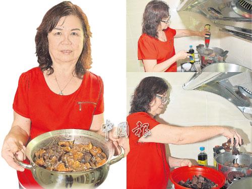 戴月燕展示拿手好菜之一──客家炸肉。 右上圖:除了南乳提味,也可加入適量蠔油調味。 右下圖:加入黑木耳到炸肉燜鍋中,達到營養健康效用。