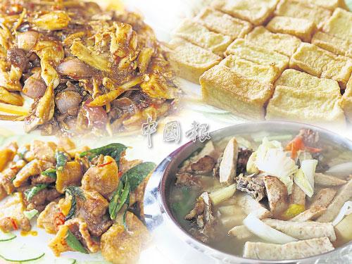 左上:來到出產海鮮的地方,一定要品嚐最鮮的味道,結合蝦子、墨鬥魚(章魚的一種)和魚片的金牌三鮮,採用新鮮海鮮,拌料的酸辣口味正是我國人民的最愛,酸炒也特別下飯。 右上:金磚豆腐有別於一般豆腐,豆腐裡有雞肉和魚肉餡料,吃進口裡的豆腐,帶著一些肉香,十分特別。 左下:鮮嫩又帶脂肪的花肉,經過香炸後更爽口,加上黑胡椒和奶油調味,結合肉香與奶油香,這道黑椒奶油花肉大有驚喜。 右下:芋香芋頭湯如其名,加入大量蔬菜,所以湯汁清甜,還散發淡淡芋頭香和魚肉香,這也是店裡的招牌菜之一。