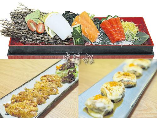 Matsu Sashimi Moriawase,由蒟蒻製成(左起)烏賊(Ika)、三文魚(Salmon)和金槍魚(Maguro)組成。傅意財表示,他們除了從臺灣進口各種素生魚片外,當需求不多時,也會使用日本進口的蒟蒻粉自製生魚片。 左下圖:Chicken Teriyaki是大廚使用腐皮自製而成,乍看之下,素雞肉紋路確實與真雞肉相似,但入口卻是甜甜的Teriyaki醬汁味及濃郁腐皮香。 右下圖:在鮮嫩肥美的蘑菇中釀入帶酸的美乃滋,再鋪上一層芝士,烤至微焦,便完成這道奶香四溢、味道鹹中帶酸的Cheese Shitake。