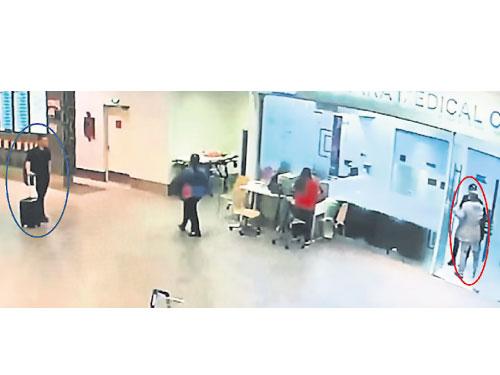 疑是李智有(藍圈)的男子,一直尾隨金正男(紅圈)至診所。