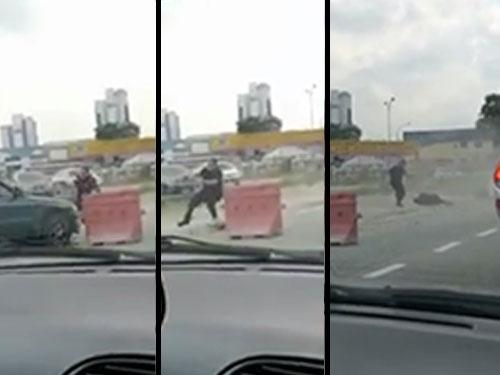 左:試圖用雙手阻擋不果,警察當場被撞飛起。 中:警察發現匪車試圖猛撞,急起用雙手阻擋。 右:被撞警察被撞飛倒地,其同僚馬上前往視察情況。