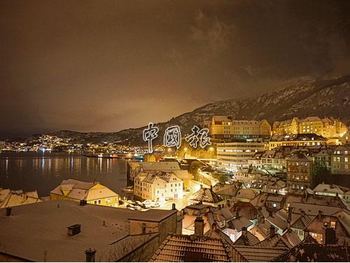 挪威Bergen,夜色璀璨優美。