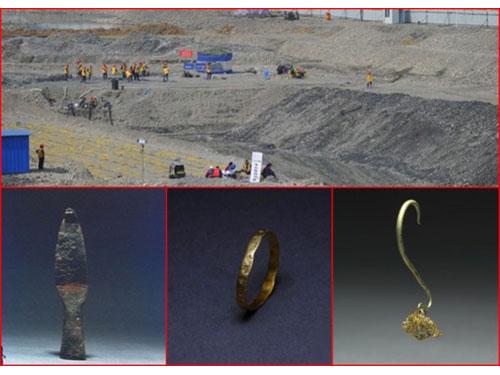 經考古團隊兩個多月的努力,在遺址發掘兵器、金飾等逾萬件文物。