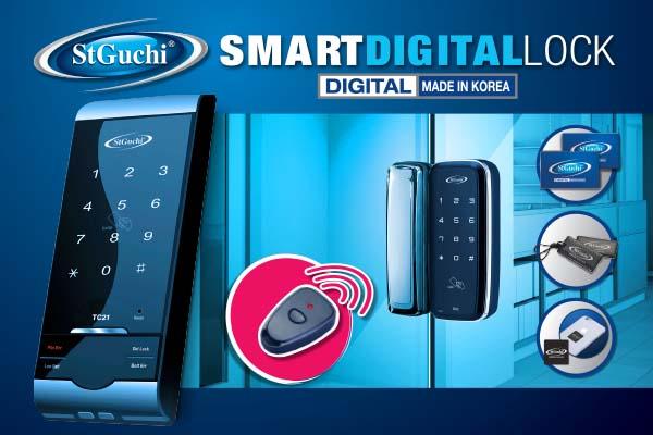 """設計時尚,簡便使用,100%韓國製造的智能電子門鎖,隨鎖附送一套開鎖感應卡、key tag鑰匙環及RFID貼紙,""""一觸即開""""如此簡單。"""