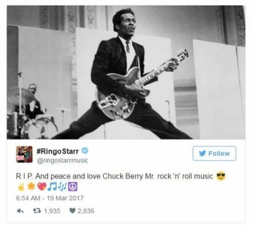 """""""披頭四""""鼓手林哥史達在自己的推特發文追悼查克貝里。(翻攝自推特)"""