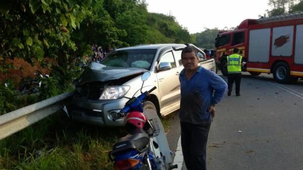疑失控後猛撞國產邁威轎車的肇禍四輪驅動車。