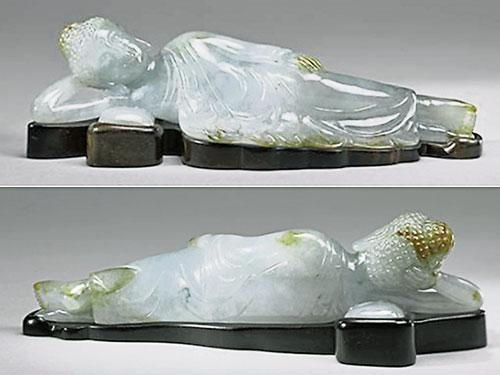 翡翠臥佛的造型工藝屬清末民初風格。