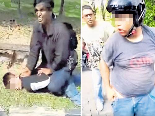 左圖:一名男子壓著另一名掠奪匪,以免對方逃跑。 右圖:身材較胖的掠奪匪(右)被路人逮捕,褲子也鬆脫。