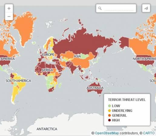 """英國《每日電訊報》把馬來西亞、澳洲、泰國、印尼、印度等多個亞洲國家列為""""高風險恐襲地區""""。"""