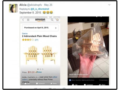 另一名買到玩具椅的網購用戶。