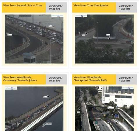 通往马新两地的柔佛长堤与马新第二通道延续阻塞情况,于星期二早上10时许,已塞得水泄不通。