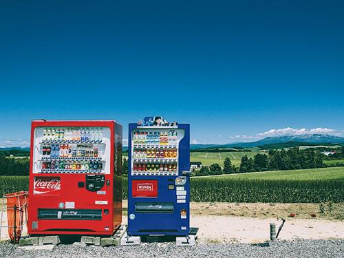 連路邊的販賣機也變得繽紛可愛。