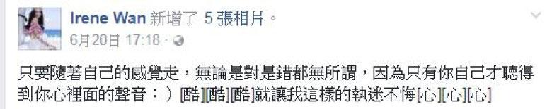 溫碧霞在面書的留言。(圖/取自東網cc)