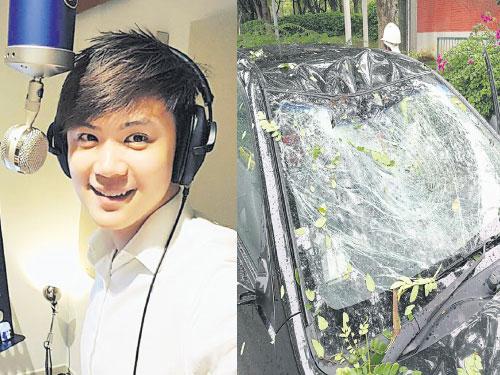 左圖:蘇奕銓前午在往錄音室途中遇上樹倒壓車意外,所幸沒有受傷。 右圖:蘇奕銓的擋風鏡及車前部明顯損壞。