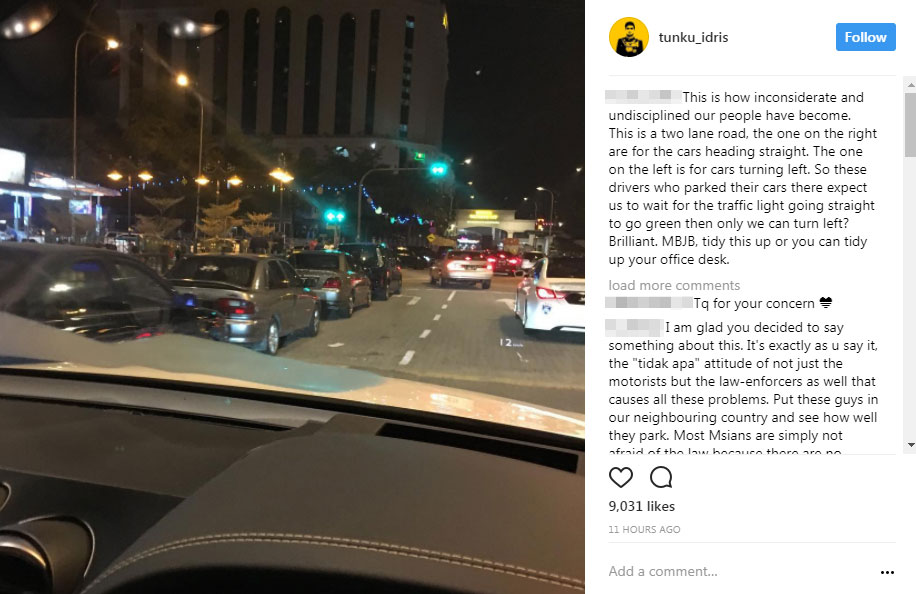 """二王子在社交媒體Instagram針對不顧他人安全的車主駕駛行為,大吐苦水,呼籲新山市政局前來整頓,否則就""""整理""""你的辦公桌好了。"""