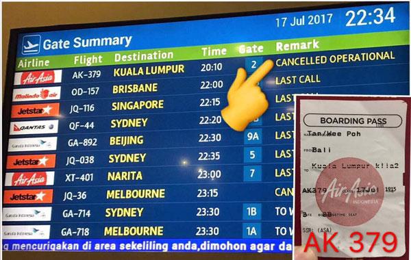 亞航飛返吉隆坡的AK379航班在事發後,無限期展延起飛。