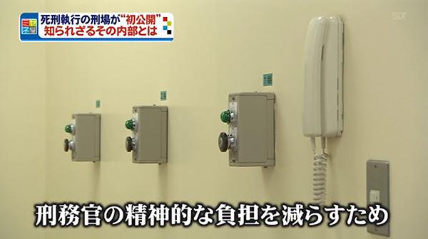 3名行刑的刑務官會同時按下按鈕,減低心理壓力。