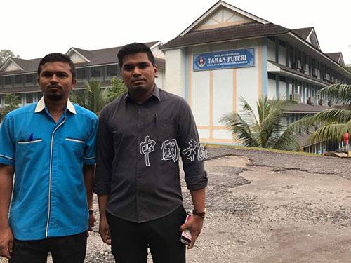 甘尼生(右)與尼拉南到學校求證此事件。