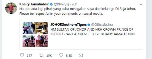 """凱里在推特轉發""""柔佛南方之虎""""的帖子時,促請大家別挑撥他與柔州王室的關係。"""