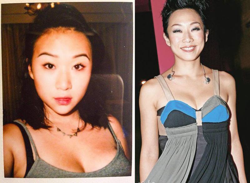 李喜儿(左)穿上低胸衣服露出事业线,性感身材媲美妈妈林忆莲(右),母女二人均天生好身材。