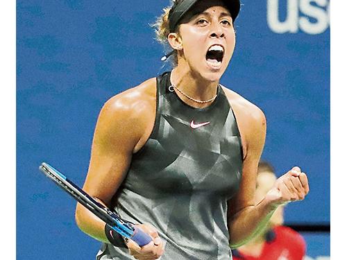 凱斯4強淘汰范德維格后吶喊歡呼;她將和同樣首次晉級決賽的斯蒂文斯爭奪成為美網新科女單冠軍。(美聯社)