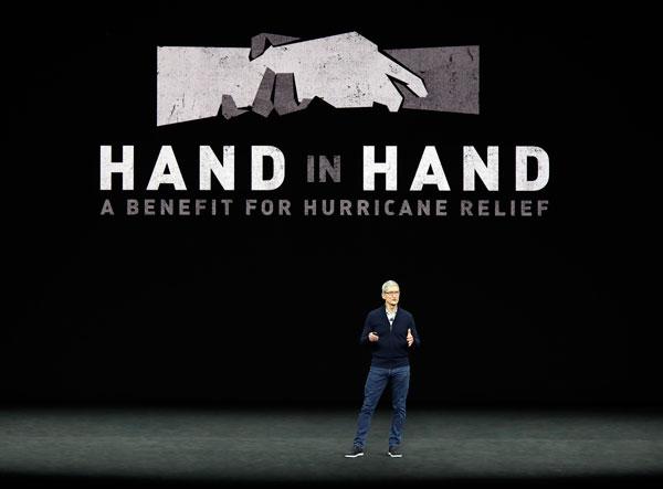 庫克在開場演講中,也提到了目前受風災影響的災民,並表示該公司會與災民們同在。(美聯社)