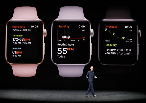 蘋果首席營運長威廉斯正介紹新系列的蘋果手錶。(法新社)