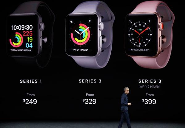 威廉斯公佈新系列蘋果手錶的價錢。(美聯社)