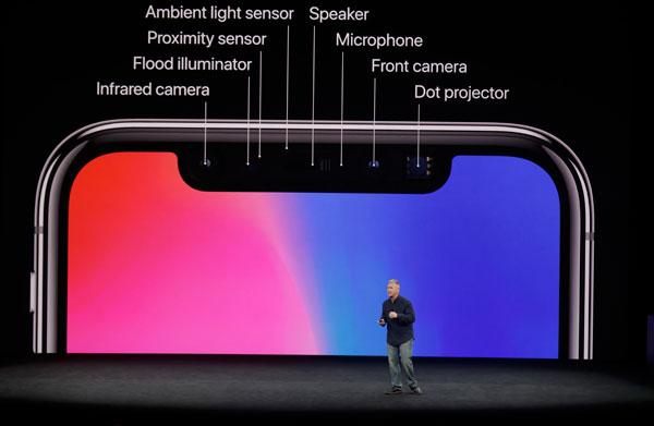 iPhone X前置部分的零件功能。