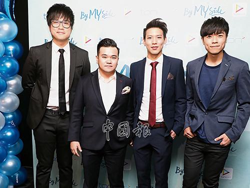 Jinnyboy(左起)、Reuben Kang、Brandon及小東為電影首映禮造勢。