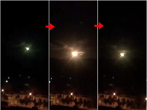 網民拍到疑似巨型隕石從高空掉下的過程。