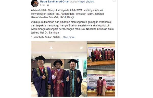 扎米漢莫辛因獲得博士學位,而于週日在個人面子書專頁分享喜悅。