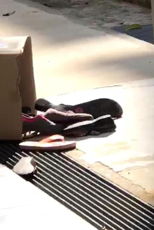 屋簷、地上都是男子扔下的物品。