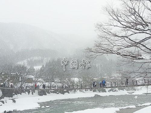 雪花紛飛的合掌村相逢橋下河川潺潺而流,汹涌水聲与呼呼風聲交織出大自然最悅耳和聲。