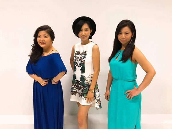 黃鳳盈(中)與另兩名挑戰女歌手姚光庭(左)及林恩如。