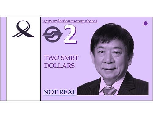 遊戲裡的SMRT鈔票印有新加坡交通部長許文遠的頭像。