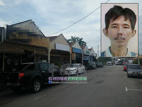 1名嫌犯的摩哆在萬樂鎮1間桌球中心外失竊。小圖為死者黃耀堅(譯音)。