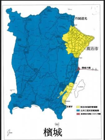 檳島市政廳早前在面子書上上載地圖,區分市政廳及公共工程局管轄的範圍,黃色區域內的道路,皆是市政廳道路。(取自市政廳面子書)
