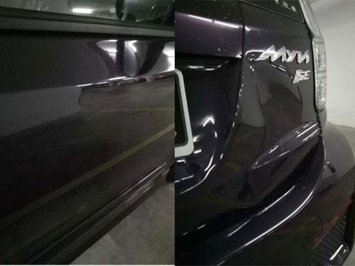 國產邁薇轎車側門,被男司機踢凹。