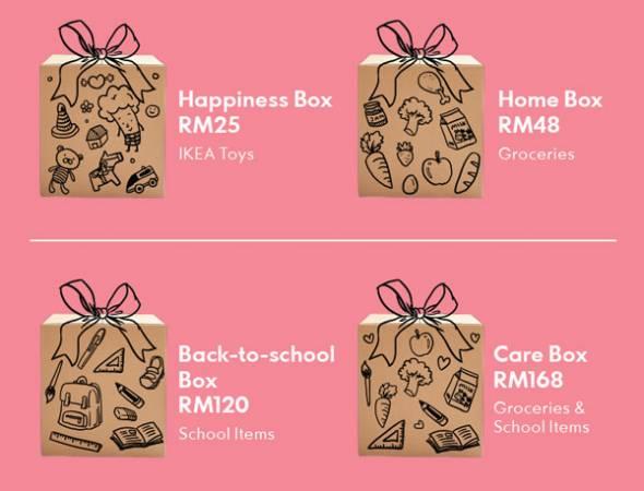 IPC開放幸運、家庭、回校及愛護4款聖誕禮盒給予民眾購買捐贈,並將在活動結束後將聖誕禮盒送到100個弱勢家庭手上。