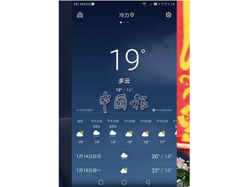 金馬崙冷力於1月13日下午時段時,氣溫處於攝氏16度至19度。