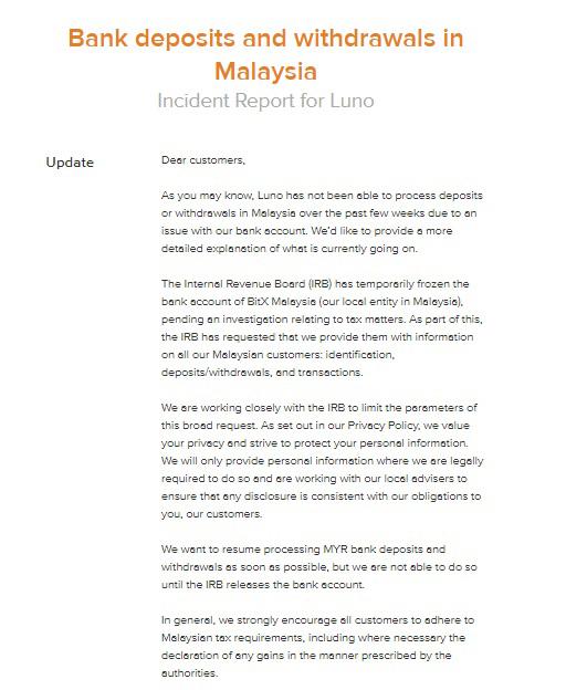 Luno的銀行賬戶遭內陸稅收局凍結。